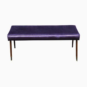 Italian Bright Purple Velvet and Brass Ending Legs Bench, 1950s