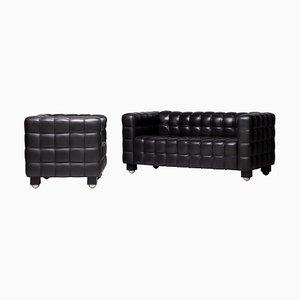 Black Kubus Sofa & Club Chair by Josef Hoffmann for Wittmann, Set of 2