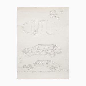 Disegno originale di Gio Ponti per Touring Carrozzeria Milan, 1952