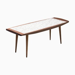 Danish Teak Abstract Tile Coffee Table, 1950s