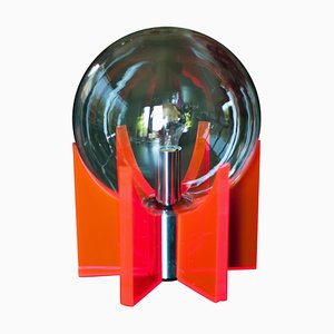 Large Italian Lucite, Glass & Chrome Table Lamp, 1960s
