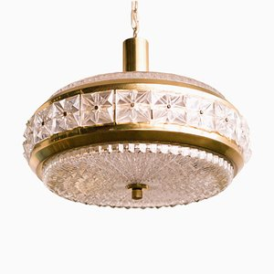 Crystal and Brass Chandelier by Carl Fagerlund for Orrefors, 1950s