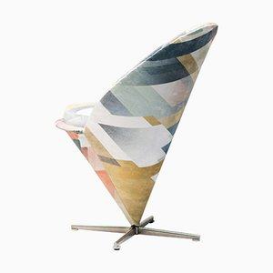 Cone Chair in Kit Miles Diagonal Gradient Blue by Verner Panton, 1958