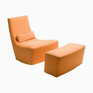 Rocking Lounge Chair & Ottoman by Ligne Roset, 1990s, Set of 2