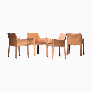 Natural Leather Cab Armchairs by Mario Bellini for Cassina, 1970s, Set of 4