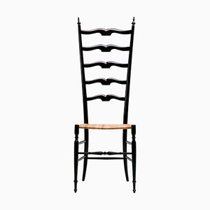 Italian High Back Lacquered Chair from Chiavari, 1956