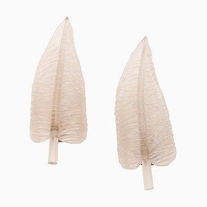 Große Feather Wandleuchten von Archimede Seguso, 1940er, 2er Set