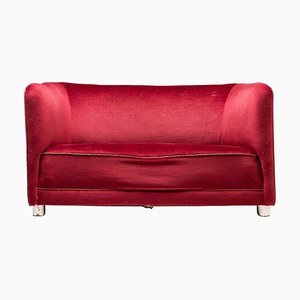 Red Velvet Sofa by Ole Wanscher, 1930s