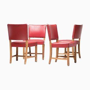 Chaises Rouges par Kaare Klint pour Rud. Rasmussen, 1936, Set of 4
