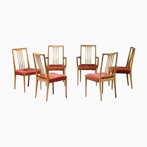 Chaises de Salon Sculpturales en Noyer, Italie, 1950s, Set de 6