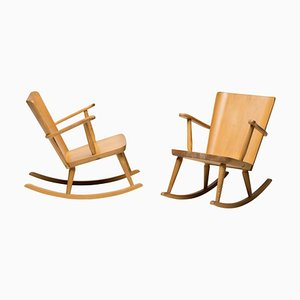 Scandinavian Pine Rocking Chair by Goran Malmvall, 1950s