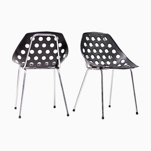 Coquillage Chairs in Black by Pierre Guariche, 1968, Set of 2