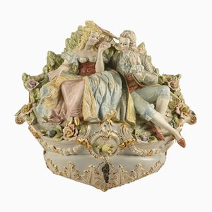 Sculptural Group in Ceramic Gallant Scene