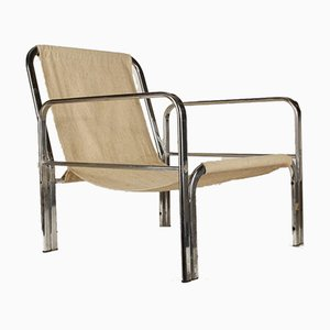 Italian Chromed Steel Armchair with Fabric Seat, 1970s