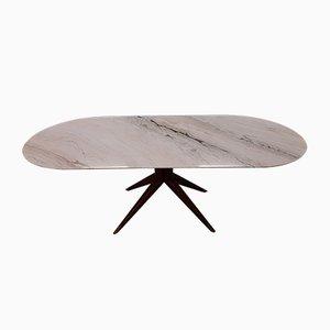 Tavolo da pranzo in legno massiccio e ottone con ripiano in marmo bianco, anni '50