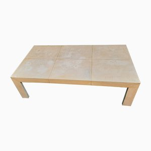 Large Square Parchment Coffee Table, 1950s