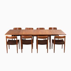 Danish Model 75 Teak Dining Chairs by Niels Otto Møller for J.L. Møllers, 1960s, Set of 8