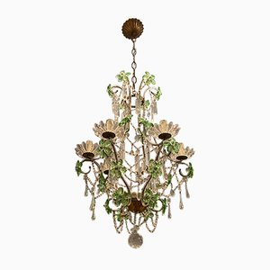 Vintage Crystal Beaded Green Flower Chandelier, 1950s