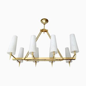 Large Mid-Century French Brass and Glass Pendant Lamp by Jacques Adnet, 1960s