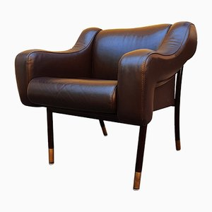 Mahogany, Brass, and Brown Leather Lounge Chair by Gianfranco Frattini for Cassina, 1960s