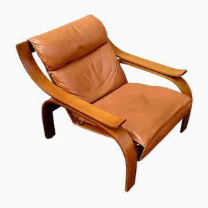 Brown Leather Model 722 Lounge Chairs by Marco Zanuso for Arflex, 1960s, Set of 2
