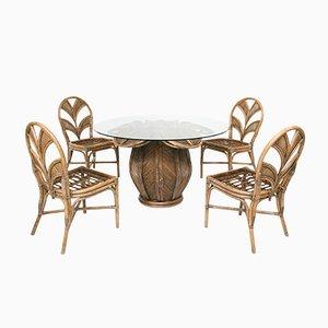 Juego de mesa de comedor en forma de flor de campana de ratán y hojas de palmera, años 70. Juego de 5