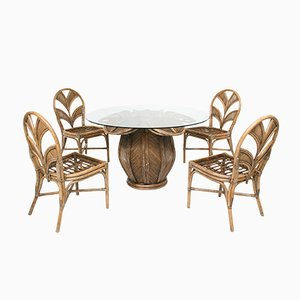 Rattan Bell Flower Dining Table and Palm Leaf Back Chairs Set, 1970s, Set of 5