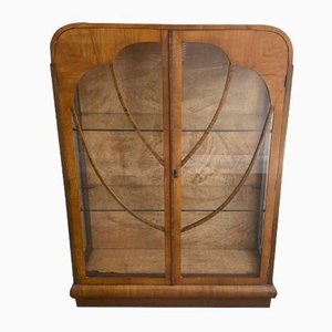 Antique Art Deco Walnut Veneer Display Cabinet