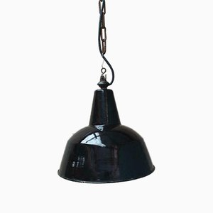 Antike schwarze emaillierte Deckenlampe, 1960er