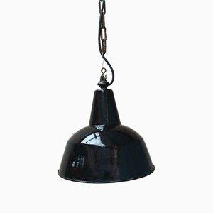 Lámpara de techo antigua esmaltada en negro, años 60