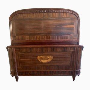 Vintage Art Deco Macassar and Ebony Bed, 1920s