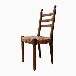 Mid-Century French Rush Farmhouse Dining Chairs, 1940s, Set of 14