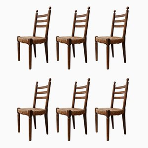 Mid-Century French Rush Farmhouse Dining Chairs, 1940s, Set of 6