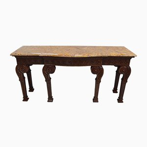 Large 19th Century Louis XVI Style Mahogany Console Table with Marble Top