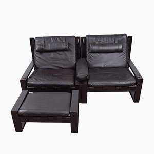 Vintage Brutalist Lounge Chairs with Ottoman Set by Sonja Wasseur