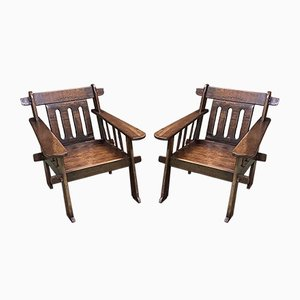 African Wooden Lounge Chairs, 1930s, Set of 2