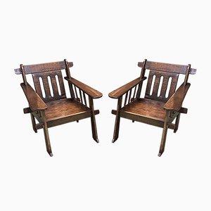 Afrikanische Holzsessel, 1930er, 2er Set