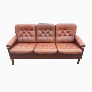 Danish 3-Seater Brown Leather Sofa, 1960s