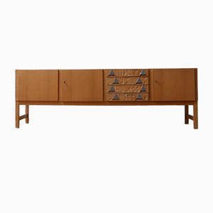 Mid-Century French Blonde Credenza, 1950s