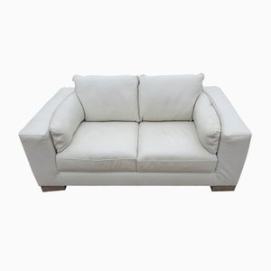 Light Cream Leather 2 Seater Sofa, 1970s