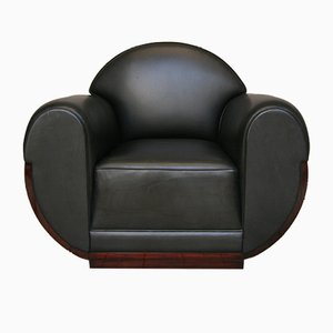 Art Deco Leather and Rosewood Club Chair, 1920s