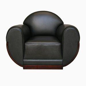 Club chair Art Déco in palissandro e pelle, anni '20