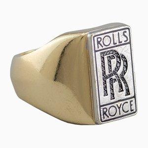 Anillo Rolls Royce de oro de 14 quilates y diamantes negros, años 80