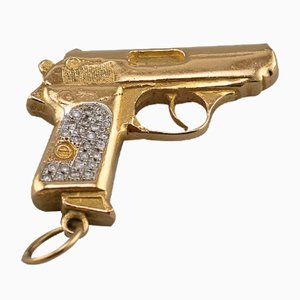 18 Karat Gold and Diamond Gold Pistol Pendant, 1980s