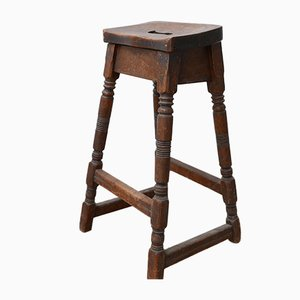 Antique English Walnut Jewellers Workstation Stool, 1920s