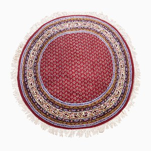 Vintage Oriental Round Carpet with Fringes, 1970s