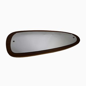 Mid-Century Kidney-Shaped Teak Wall Mirror, 1960s