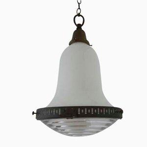 Lámpara colgante Bauhaus alemana vintage de vidrio opalino bicolor