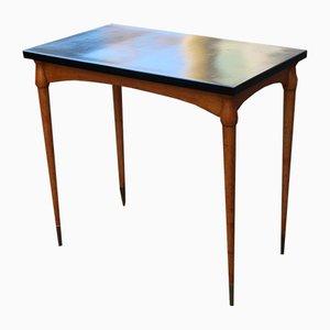 Kleiner Italienischer Schreibtisch aus Ahorn & Nussholz mit Messingspitzen, 1950er