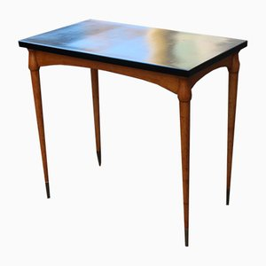 Small Italian Maple and Walnut Desk with Brass Tips, 1950s